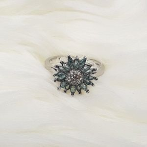 Sterling Silver Plated Aquamarine Flower Ring